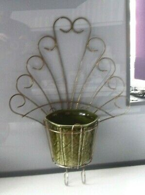 VINTAGE RETRO FUNKY KITSCH 1960s FLOWER PLANT POT HOLDER WALL MOUNTED