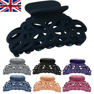 Large Scrub Black Plastic Hair Claw Clips Hollow Out Carving Crab For Hair Clamp