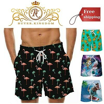 1e7ea2a857 Mens Swim Trunks Elastic Waist Quick Dry Beach Surfing Diving Short  Boardshorts