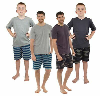 Mens Boys Mini Me Matching Pyjamas Set Camo Stripe Long Short Pjs Set Father Son