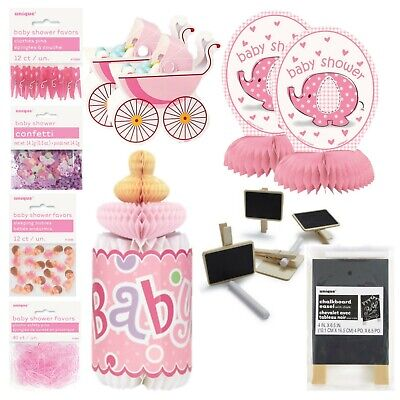 BABY SHOWER TABLE DECORATIONS, Pink, Girl, Honeycomb, Bottle, Confetti, Prams