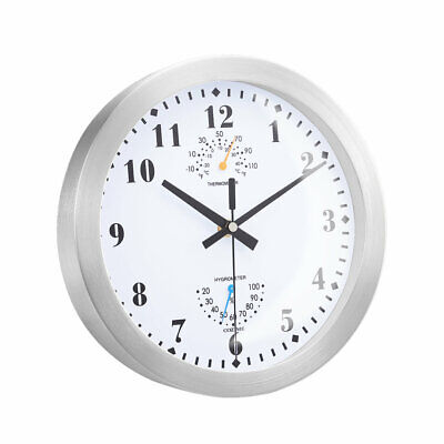 10 Inch Metal Frame Round Wall Clock With Thermometer Hygrometer O
