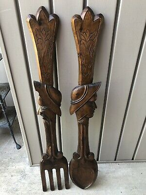 """Vtg Wooden Carved Don Quixote & Sancho Panza Fork Spoon Wall Plaque Set 39"""""""