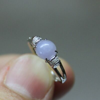 """Size 5 **  CERTIFIED Natural """"A"""" Untreated Lavender Jadeite JADE S925 RING"""
