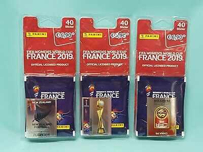 Panini Frauen WM 2019 France  3 x Blister mit 8 Tüten + Wappen Womens World Cup