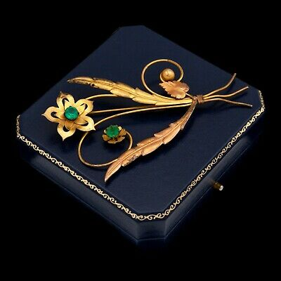 Antique Vintage Art Deco Retro 12k Gold Filled GF Floral Faux Emerald Pin Brooch