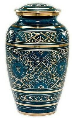 Large/Adult 200 Cubic Inch Brass Caribbean Funeral Cremation Urn for Ashes