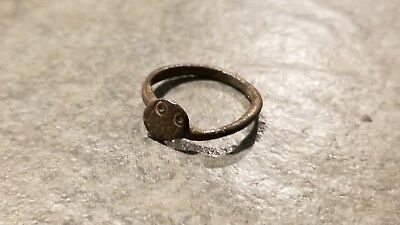 Ancient Roman Bronze RING (#5c) Engraved Evil Eye Motif, 18 mm, Wearable