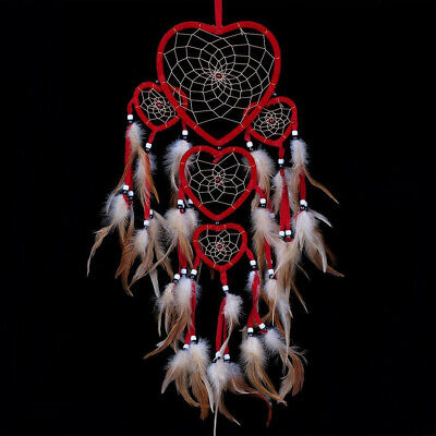Heart Shaped Dream Catcher With Feather Wall Hanging Car Decoration Ornament Red