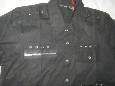Black Studded Mens Shirt Punk Goth short sleeve Dead Threads S-XXL
