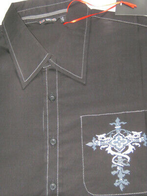 Black Mens Shirt. Grey white print. Punk short sleeve Dead Threads M L XL