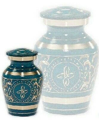 Small/Keepsake 4 Cubic Inch Brass Caribbean Funeral Cremation Urn for Ashes