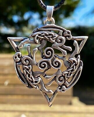 Antiqued Silver Plate Celtic Viking Hare Rabbit Pendant Necklace