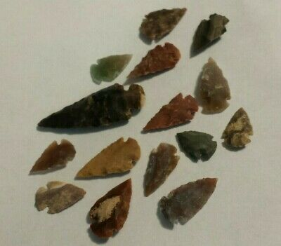"15pc 100% Natural Flint Arrowhead Collection 1-2"" Spear Bow Knife Blade's 2.4oz"