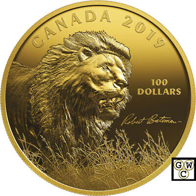 2019 'Into the Light -Lion' Gold-Plated Prf $100 Fine Silver 10oz.Coin(18762) NT