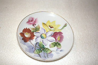 """Vtg Hand Painted Multi-Colored Floral Display Plate 7 1/2"""" Diameter"""