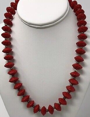 VTG Unusual Vintage Antique Chinese Red Cinnabar Lacquer Carved Beaded Necklace