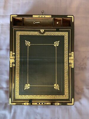 Victorian Writing Slope/ Box Secret Drawers Lift Out Tray Working Lock & Keys