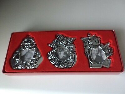 Gorham Silverplate Christmas Photo Frame / Tree Ornament Angel Snowman Set of 3