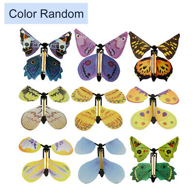 Random Flying Butterfly Surprise Greeting Card Book Magic Props Toy Fly Wind Up