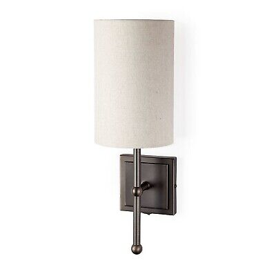 Bronze Modern Wall Sconce with Canvas Shade The Brockland Industrial Fixture