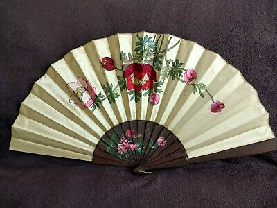 Large Antique Chinese Silk Fan - Hand Painted & Embroidered