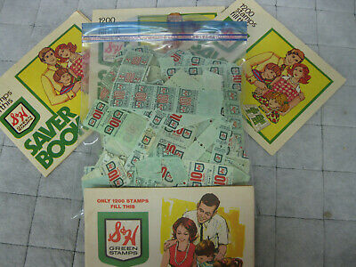 Lot Vintage S&H Green Stamps Books and BIG lot of  Loose Stamps