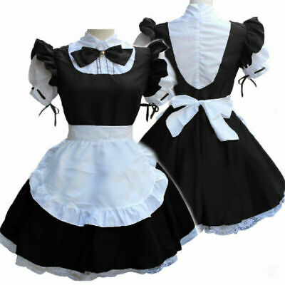 HOT Women Lolita Medieval Bow-Knot Anime Short Sleeve Cosplay Costume Maid Dress