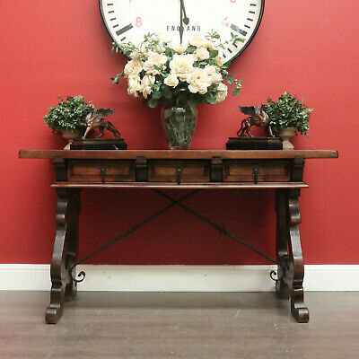 Vintage Spanish Desk, Table, Foyer Table, 3 Drawers, Wrought Iron Stretcher Base