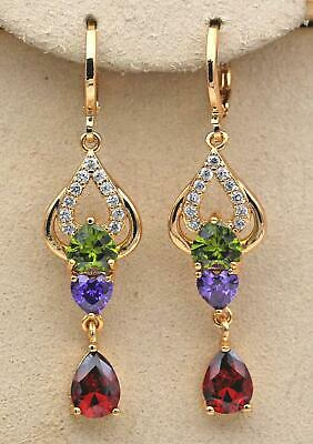 18K Gold Filled - 1.9'' Hollow Teardrop Heart Emerald Amethyst Topaz Earrings HB