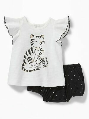 NWT Old Navy Tiger Short Sleeve Top Bloomers Outfit 2PC Baby Girl