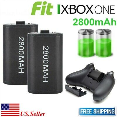 2x 2800mAh Rechargeable Battery With Charging Cbale For XBOX ONE Controller New
