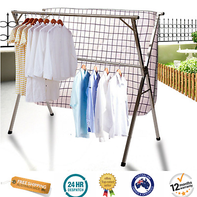 Extendable Clothes Airer Drying Rack Foldable Stainless Steel Holds 60Kg Laundry