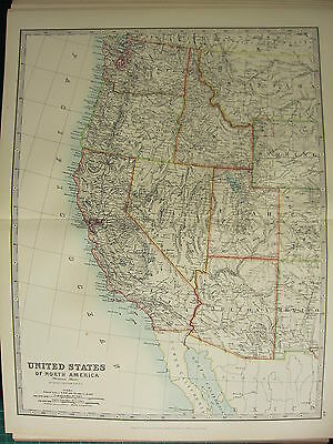 1896 Groß Viktorianisch Map ~ Western United States ~ California Nevada Utah