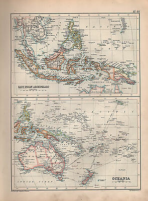1901 Victorian Map ~ East Indian Archipelago Borneo Philippine Malay ~ Oceania