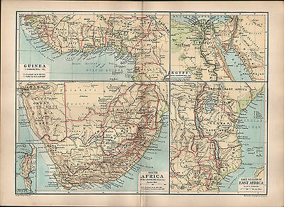 1895 Victorian Map ~ South Africa Guinea Eqypt Cape Town Lake Regions