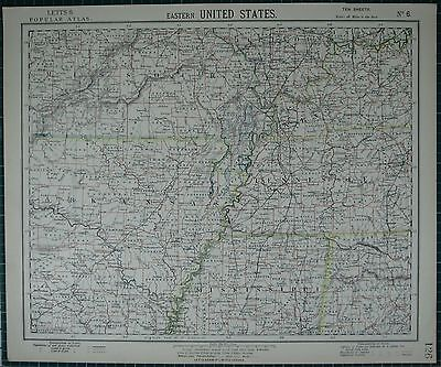 1883 Letts Map ~ Eastern United States Arkansas Mississippi Missouri Kentucky