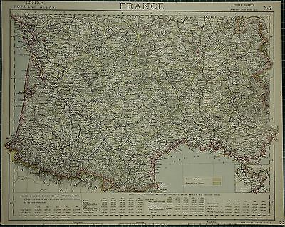 1883 Letts Map ~ Frankreich Southern Section Imports Correze Gironde Lot