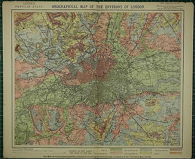 1883 Letts Map London Umgebung Orographical Land Heights Stations Parks