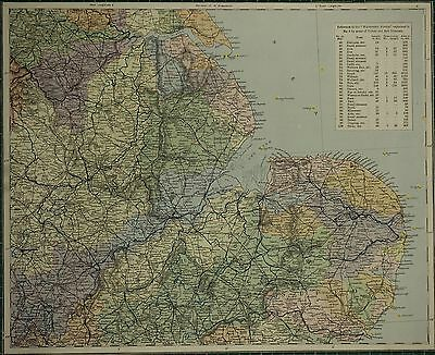 1883 Letts Map ~ East England Lincoln Norfolk Suffolk Wasserscheide System