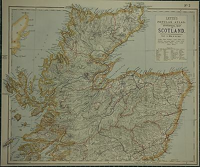 1883 Letts Map ~ Northern Scotland Sutherland Inverness Ross Aberdeen Forfar