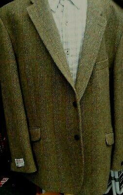 "Kingsize Harris Tweed Giacca Verde spina di pesce 50/"" 52/"" 54/"" 56/"" 58/"" 60/"" 62/"" 64/"" 66/"""