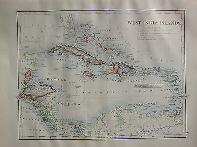 1900 Victorian Map ~ West India Islands Cuba Haiti Jamaica Honduras Costa Rica
