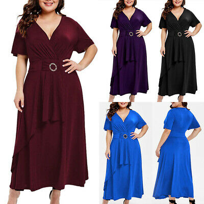 Ladies Women V Neck Summer Holiday Party Evening Wrap Maxi Dress Plus Size 12-24