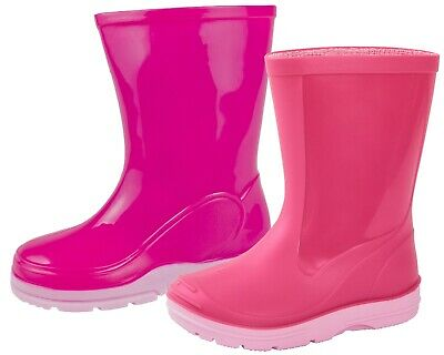 Girls Pink Wellies Mid Calf Rain Snow Boots Wellingtons Kids Waterproof Shoes
