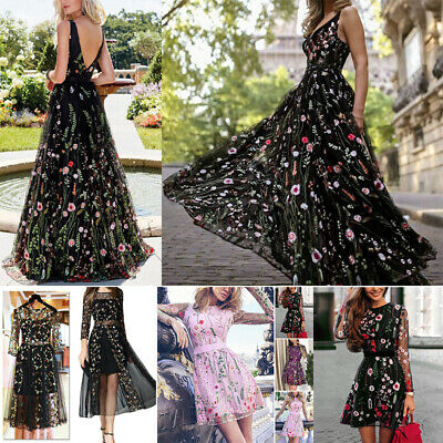 Women Summer Embroidery Mesh Boho Maxi Dress Evening Party Cocktail Long Dresses