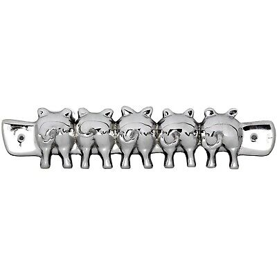 Country Style Metal Chrome Silver Pig Tails Wall Mounting Jewellery Key Hooks