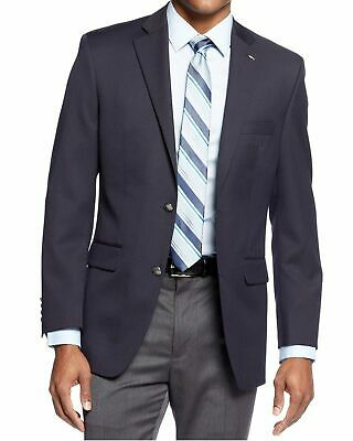 Mens 40L Tasso Elba Classic Fit Solid Navy Blue Two Button Wool Blend Blazer ...