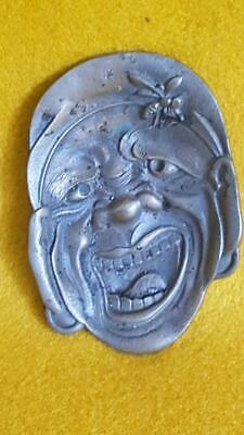 "Sml 1900 Meiji Japanese Cast Bronze Comical ""Grotesque"" w Wasp Coin or Pin Tray"