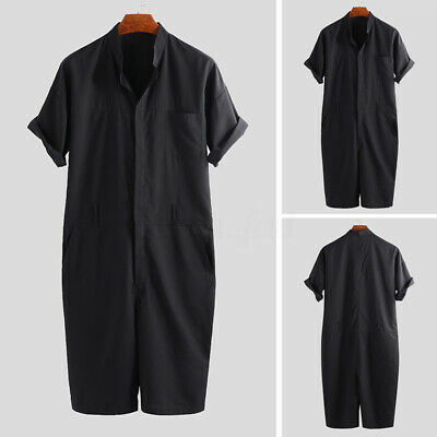 Fashion Mens Womens Dungarees Jumpsuit Short Sleeve Pants Rompers Short Overalls